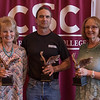 Employees recognized for 30 years of service at the annual Chadron State College Faculty and Staff Recognition Luncheon April 14, 2016. From left, Kathy Mason, Silas Kern and Patricia Blundell. (Tena L. Cook/Chadron State College)
