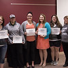 Project Strive/TRiO Retention Agents pose at the organization's year-end luncheon Monday, May 2, 2016, in the Chadron State College Student Center. From left, Isabella Irish, Brooke McPherson, Mikayla Gallagher, Kelsey Brummels, Jamie Brinamen. Not pictured: Ben O'Banion. (Photo by Tena L. Cook/Chadron State College)