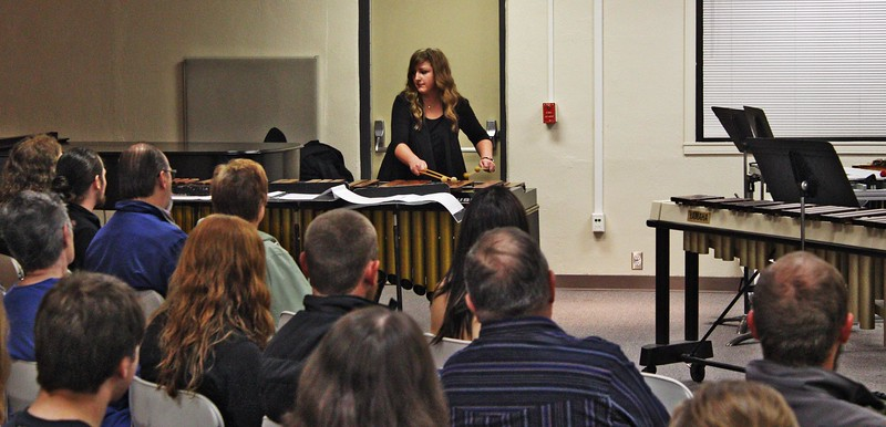 Sha-Nae Orr performs at the Senior Percussion Recital in Memorial Hall, April 15, 2016.  (Photo by Alex Coon/CSC)