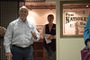 Steve Cleveland explains the history behind the First National Bank display in the C.F. Coffee Gallery Wednesday, Sept. 28, 2016, during a Rural Futures Initiative tour. (Photo by Tena L. Cook/Chadron State College)