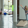 Bean bag toss was one of the booths in the Chicoine Center during Spring Daze Saturday. (Photo by Tena L. Cook/Chadron State College)
