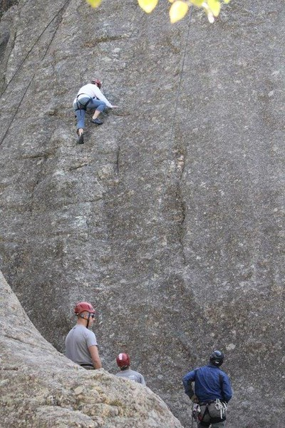CSC students enrolled in Donna Ritzen's Outdoor Recreation course practice rock climbing in South Dakota this week. (Courtesy photo)