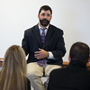 Travis O'Gorman, CSC alumnus, fields questions from students and faculty  in Cadron State College's Old Admin building during the Justice Studies Forum, Oct. 7, 2016. (Photo by Conor Casey/CSC)
