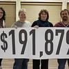 Chadron State Foundation Fall Fund Drive community and campus co-chairs Jennifer Brown, Dawn Brammer, Melissa Mitchell and Justin Haag display the amount of money raised during a November 2016 program celebrating the conclusion of the annual campaign. (Photo by Conor Casey/CSC)