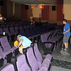 Participants in The Big Event help clean the Eagle Theatre April 23, 2016, as part of Chadron State College's annual service event. (Photo by Conor Casey/CSC)
