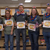 Graduating tutors and Supplemental Instruction leaders who are graduating or leaving campus this semester were honored at a ceremony Tuesday, May 3, 2016, in the Learning cener in the King Library. From left, Elizabeth Bourk (student teaching), Melissa Rosfeld, Kale Lytle, Joslynn VanDerslice and Laura Cataldi. (Photo by Tena L. Cook/Chadron State College)