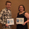 Student Peer-Leader of the Year Award recipients Isaac Langan and Jessica Hartman at the Rising Sophomore Recognition Ceremony Monday, April 25, 2016, in the Chadron State College Student Center. (Tena L. Cook/Chadron State College)