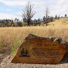 A marker near the trail below C-Hill tells the story of the 2006 fire that came to the edge of Chadron State College campus. (Chadron State College photo)