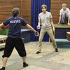 "Doug Valade, Nathan Wojciechowski and Craig Phillips practice a sword fighting scene from ""No Holds Bard"" in the Burkhiser Complex. (Photo by Conor Casey/CSC)"