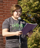 Davina Fessler, Chadron State College graduate student and co-organizer of the second annual Out of the Darkness suicide prevention and awareness walk, speaks to participants at the Lindeken Clock Tower on Saturday, Sept. 24, 2016. (Photo by Tena L. Cook/Chadron State College)