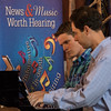 """Chadron State College music department members, from left, Bobby Pace and Brooks Hafey, play a piano duo at the Bean Broker Tuesday, June 14, 2016, during a taping of """"Friday LIVE,"""" Nebraska Public Radio's weekly arts and culture magazine. (Photo by Tena L. Cook/Chadron State College)"""