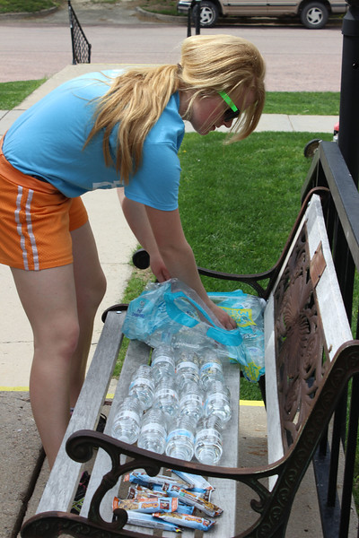 Jessica Thiele of Atkinson, Neb., provides refreshments for volunteer workers at Grace Episcopal Church April 23, 2016, as part of Chadron State College's annual community service project, The Big Event.  (Photo by Conor Casey/CSC)