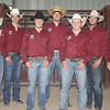 Five members of the Chadron State College men's team that won the Central Rocky Mountain Region championship and will be competing at the College National Finals Rodeo in Casper, Wyoming, June 12-18, 2016, are shown with their coaches. From left, head coach Dustin Luper, Dakota Rice of Kellogg, Idaho, Nate McFadden of Elsmere, Nebraska, Prestyn  Novak of Newell, South Dakota, John Kissack of Gillette, Wyoming, Colby Anders of Bayard, Nebraska, and assistant coach Wyatt Clark. Not pictured: Clayton Van Aken. (Photo by Con Marshall)