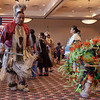 Attendees of the annual Chadron State College Powwow hosted by the Native American Club dance and celebrate in the Student Center Ballroom, Nov. 19, 2016.  (Photo by Conor Casey/CSC)