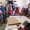 Phoebe Boynton, right, costume designer for the Post Playhouse explains to Upward Bound students June 21, 2016, her responsibilities and the locations such as Italy and Spain she has traveled with her career. (Photo by Tena L. Cook/Chadron State College)