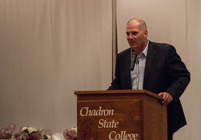 Chadron State president Dr. Randy Rhine speaks to the crowd in the Student Center ballroom before homecoming coronation, Oct. 5, 2016. (Photo by Conor Casey/CSC)
