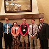 Incoming Chadron State College students who are recipients of the Nebraska State College System Board of Trustees scholarship were honored at a luncheon April 15, 2016, in Lincoln. From left, Lieutenant Governor Mike Foley, Mitchell Parish of North Platte, Neb., Abigail Bright of Alliance, Neb., Dawson Brunswick of McCook, Neb., Jayden Philben of Ainsworth, Neb., and Jon Hansen, CSC vice president of enrollment management, marketing and student services. (Courtesy photo)