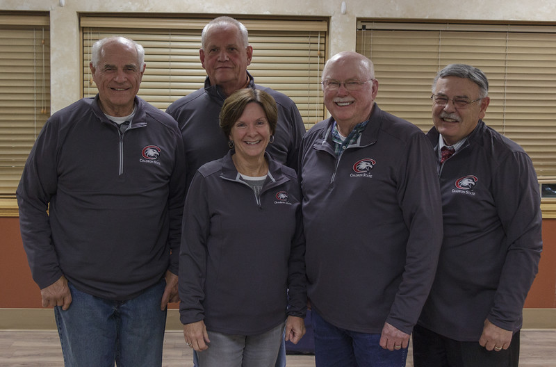 The winning community team for the Chadron State Foundation Fall Fund Drive. Back row, from left, Dave Coe and Jerry Evans. Front row, from left,  Deb Evans, Bob Zahm and George Klein. Not pictured, Tammie Scheopner. (Photo by Conor Casey/CSC)