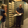 Steve Rolfsmeier, High Plains Herbarium curator and faculty member, explains the process of preserving plant samples during a tour Wednesday, July 6, 2016. (Photo by Tena L. Cook/Chadron State College)