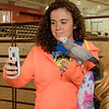 Katie O'Boyle was one of the many CSC students who visited the Petting Zoo Saturday in the Coffee Agriculture Pavilion for Spring Daze. (Photo by Tena L. Cook/Chadron State College)