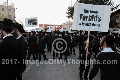 Ultra Orthodox Jews Protest Draft in Jerusalem, Israel