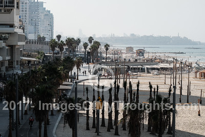 A northward view of the hotel strip with Jaffa in the background at Gordon Beach in Tel Aviv
