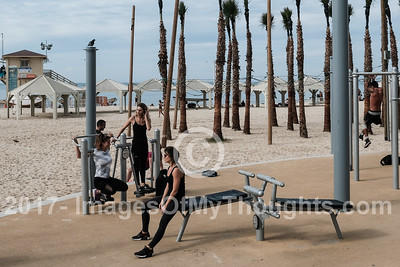 People workout, exercise and take part in sports on public facilities along the Tel Aviv Mediterranean beach front.