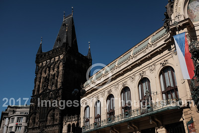 The Powder Tower (left) stands adjacent to the Prague Municipal House, Obecni dum.