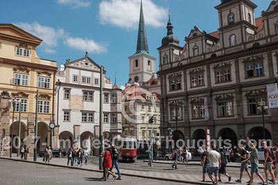 A view of streets in Mala Strana on the left, west, bank of the river Vltava, on the slopes just below the Prague Castle.