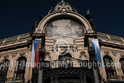 The Prague Municipal House, Obecni dum, is located on Namesti Republiky, Republic Square. It was the mideval home to the Kings of Bohemia. From this second floor balcony, depicted, the Czechoslovak Republic was proclaimed in 1918.