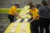 CSC Dining Services staff members place 2,017 overlapping tortillas in a line on tables in the Chicoine Center Friday, April 21, 2017 in an attempt to set the world record for longest taco line during Spring Daze. (Photo by Tena L. Cook/Chadron State College)