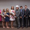 Chadron State College Ivy Day royalty May 5, 2017, in Memorial Hall. From left, queen's attendants Mariah Conyers of Chadron, Leyna Brummels of Ewing, Neb., Teryn Blessin of Greenwood, Neb., Larissa Hastings of Chadron, queen Sara Marlatt of Gordon, Neb., king Garret Dockweiler of Oconto, Neb., king's attendants Regg Strotheide of Rushville, Neb., Colton Wright of Albin, Wyo., Coy Clark of Benkelman, Neb. and Justin German of Imperial, Neb. (Photo by Tena L. Cook/Chadron State College)