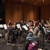 Dr. Sid Shuler, left, leads the Chadron State College Wind Symphony in practice in the new acoustical shell on the stage in Memorial Hall's Auditorium Wednesday, Feb. 1, 2017. The first formal performance using the shell will be the final concert of the High Plains Band and Choir Festival Feb. 7 at 5 p.m. (Photo by Tena L. Cook/Chadron State College)