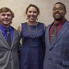 Chadron State College students, from left, Garrett Dockweiler, Sara Marlatt and Frantzlee LaCrete have been accepted to the medical program at the University of Nebraska Medical Center. Not pictured, Justin German and Meadow Will. They were honored at a banquet April 13, 2017. (Photo by Tena L. Cook/Chadron State College)