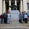 Chadron State College students and Dr. Thomas Smith pose for a photo on the main steps of the University of Havana near its Alma Mater statue while studying the island nation of Cuba in early January 2017. Front row, left to right, Jordyn Hulinsky, Smith, Stephanie Steele, William Rowley, and Kira Fish. Second row, Todd Roenfeldt, Terrie Wood, Kayla Fredrich, Kirsten Hall, Andrea Rising (Jaggers), James Kroupa. Back row, Cuba Libre tour guide Phil Alldritt, Joel Milos, Megan McLean, MacKenzie Carroll, and Robin Moore. (Photo by Jordyn Hulinsky/The Eagle)