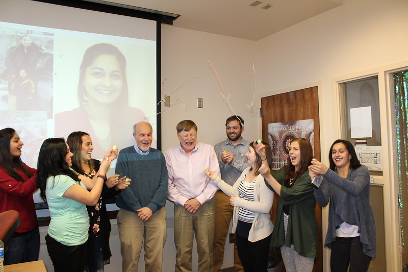 Chadron State College seniors in Social Work celebrate with their faculty members, Rich Kenney and Bruce Hoem, center, following their pinning ceremony March 22, 2017. From left, Kiran Mand, Cierra Hermann, Jade Capezutto, faculty members Rich Kenney and Bruce Hoem, Robert Ricks, Darian Krysl, Krista Harris and Miranda Karn. (Courtesy photo)