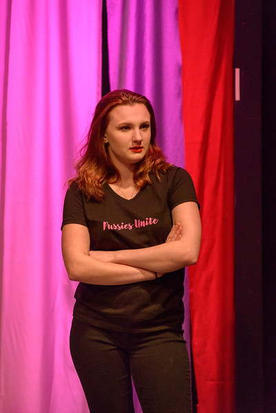 """Autumn Hartwig speaks during Chadron State College's production of """"The Vagina Monologues"""" by Eve Ensler. (Photo by Daniel Binkard/Chadron State College)"""