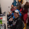 Elmo the Eagle takes a look behind the broadcasting scenes with members of the CSC Live crew. Front to back: Jacob Muir, Craig Conway, Tin Huynh. (Photo by Daniel Binkard/Chadron State College)