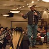 Marvin Garrett of Rosette, Wyo., four time national champion bareback rider, speaks at the Chadron State College Rodeo Team's annual Black Tie Calf Fry at 6 p.m. Saturday, Feb. 24, 2018, in the CSC Student Center. (Photo by Tena L. Cook/Chadron State College)