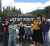 Chadron State College art students pose while on a 1,200 mile trip through Wyoming, Montana and Idaho in May 2018.From left, Matt Ellis, Christopher Wright, Sarah Stangle, Kayla Reinke, Kendra Baucom and Tristan Stephenson. (Courtesy photo)