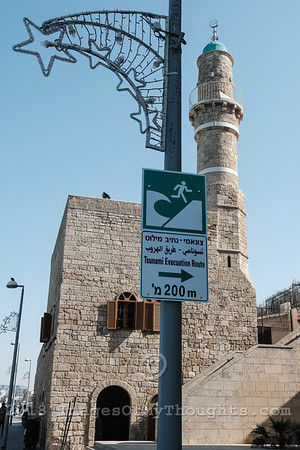 A sign indicates the closest tsunami evacuation route at the Jaffa Port.