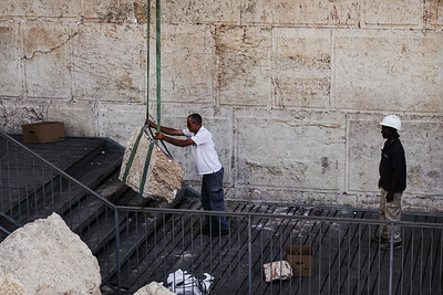 Huge Boulder Dislodges from Western Wall in Jerusalem, Israel