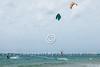 Kite surfers enjoy the Mediterranean beach of Ashdod