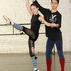 """Parker Leas (Clara) and David Scheuerman (The Nutcracker Prince) rehearse their roles for the Midwest Regional Ballet production of """"The Nutcracker"""" at the company's downtown location. The troupe will be moving to a new location in East Joplin.<br /> Globe 