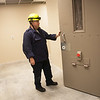 Globe/Roger Nomer<br /> Scott Cranford, training chief of EMS, talks about the jail simulation room at the Public Safety Training Building during a tour.