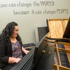 Carthage High School senior Jelicia Montelongo on Wednesday plays a song on a Steinway & Sons grand piano donated to the CHS Music Department by longtime provate piano teacher Marilyn Kelley.<br /> Globe | Laurie Sisk