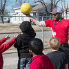 Globe/Roger Nomer<br /> Mark Fowler plays basketball with second graders after lunch on Wednesday, Feb. 1, at McKinley Elementary.