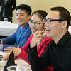 Globe/Roger Nomer<br /> (from left) Alex Song, a Missouri Southern masters student from Qindao, China, Lisa Li, a MSSU masters student from Linyi, China, and Renzhu Li, a MSSU masters student from Fujian Providence, China, talk with a delegation from Shandong Foreign Trade Vocational College on Friday.