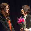 Globe/Roger Nomer<br /> Yoko Teats talks with former co-worker Wendy Strukel, Girard, on Wednesday at Pittsburg State.