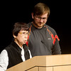 Globe/Roger Nomer<br /> Yoko Teats, accompanied by her grandson Jacob, talks about her experience in Japan during WWII on Wednesday at Pittsburg State.